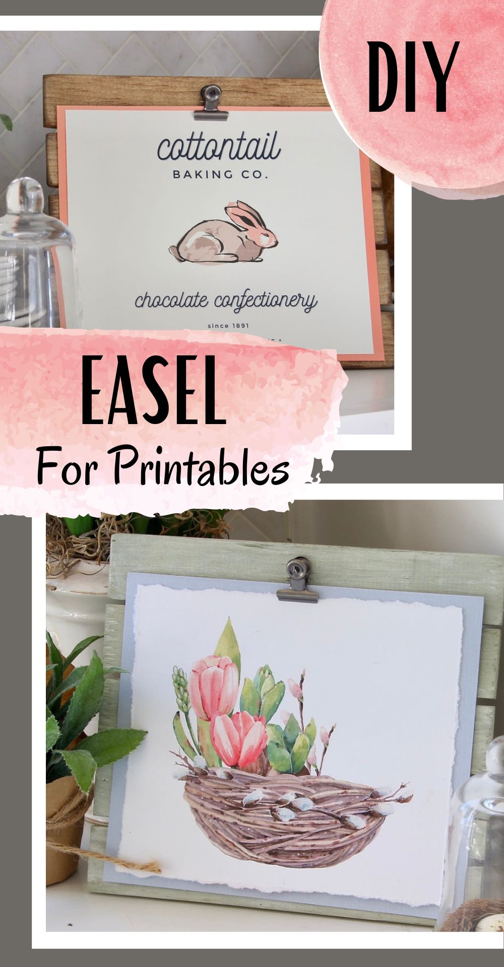 Pin showing two printables on two different easels