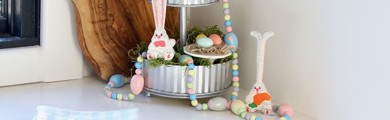 Cropped in image of the final Easter Tiered Tray Display