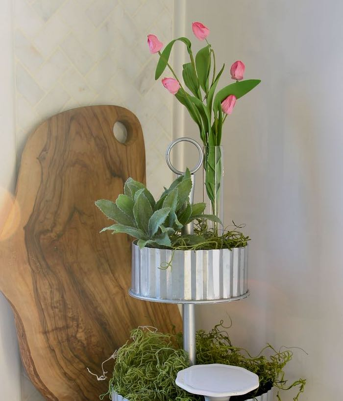 Tiered Galvanized Tray with Springs buds in bud vase on top
